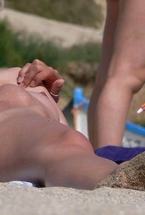 close up, on  beach, shaved pussies,