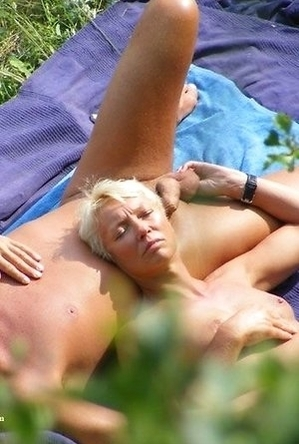 busty nudists, mature nudists, nude, on  beach, shaved pussies, women,