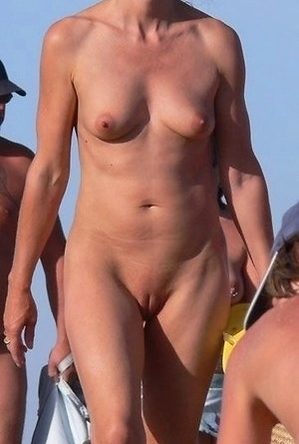 mature nudists, nude, on  beach, shaved pussies, women,