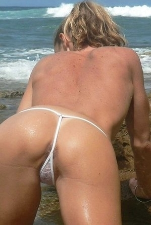 on  beach, panties,
