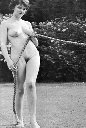 on  beach,vintage nudism,