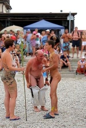bbw pics,body art,busty nudists,mature nudists,nude,on  beach,