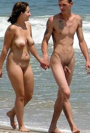 nude, on  beach,