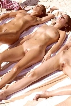 busty nudists, legs, nude, on  beach, shaved pussies, spreads,