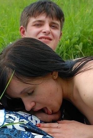 blowjob,brunette,nude,nudist couple,on  beach,